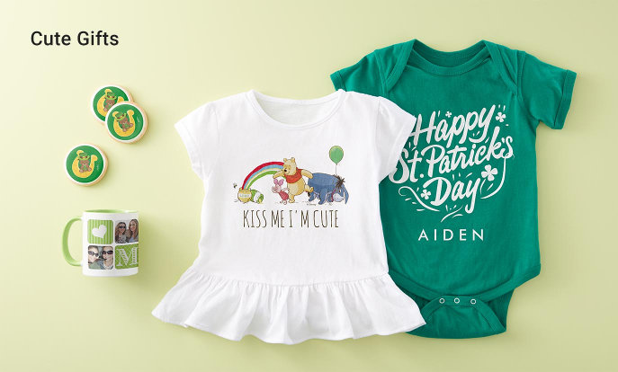 Cute Gifts - Irish Shamrock Cookie, Photo Collage Green Coffee Mug, Pooh and Pals Rainbow Baby T-Shirt, Baby Bodysuit