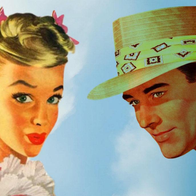 Vintage 50's Folk on a Bright Blue Sky Acrylic Tray