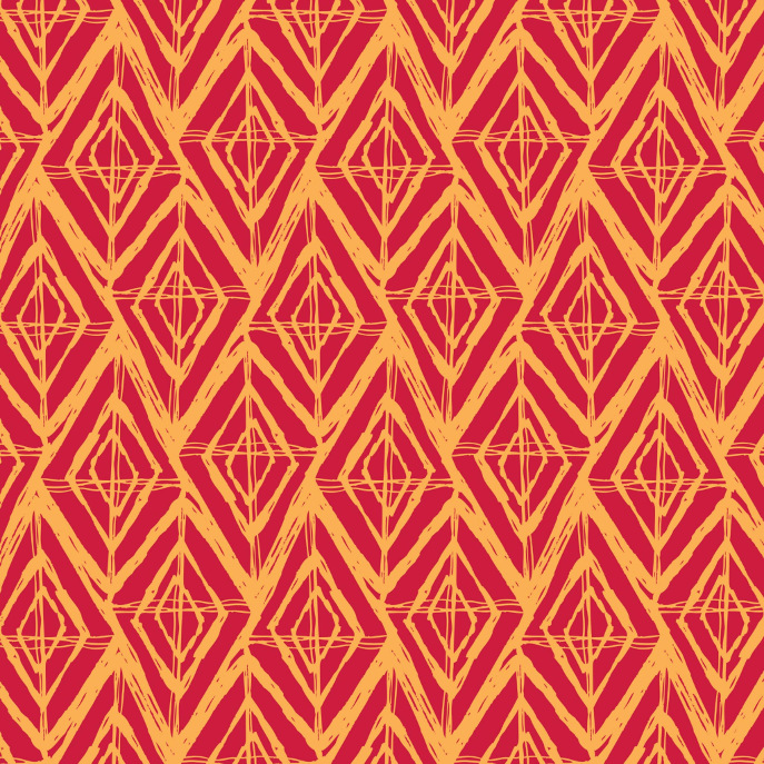 Sketchy Geometric Diamond Pattern | Orange & Red Serving Tray