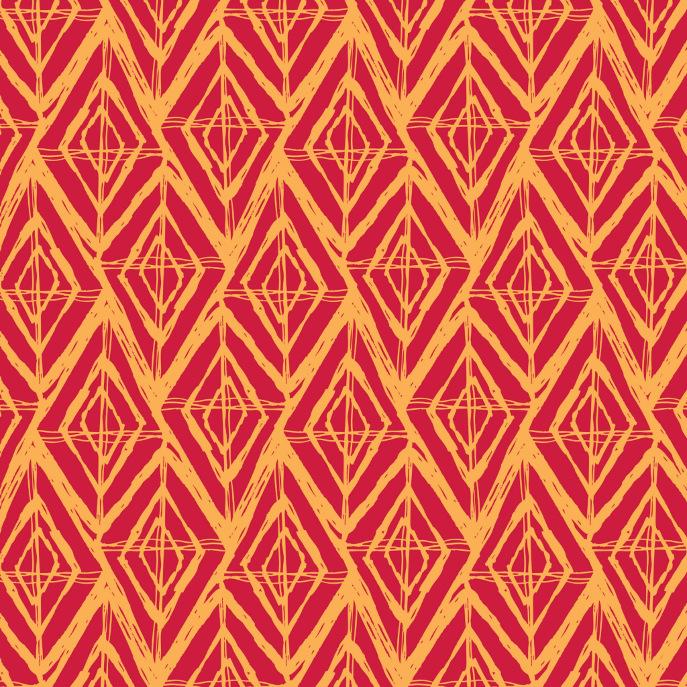 Sketchy Geometric Diamond Pattern | Orange & Red Acrylic Tray