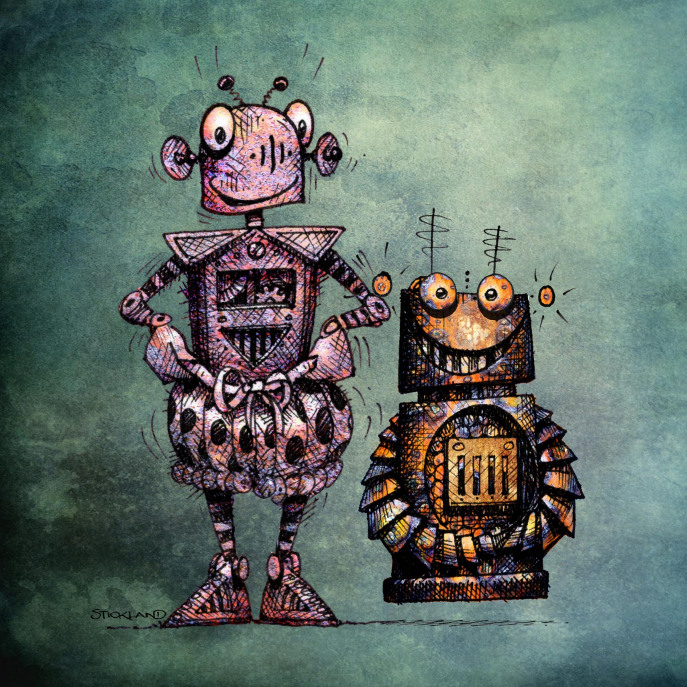 Two Funny Robots! Canvas Print