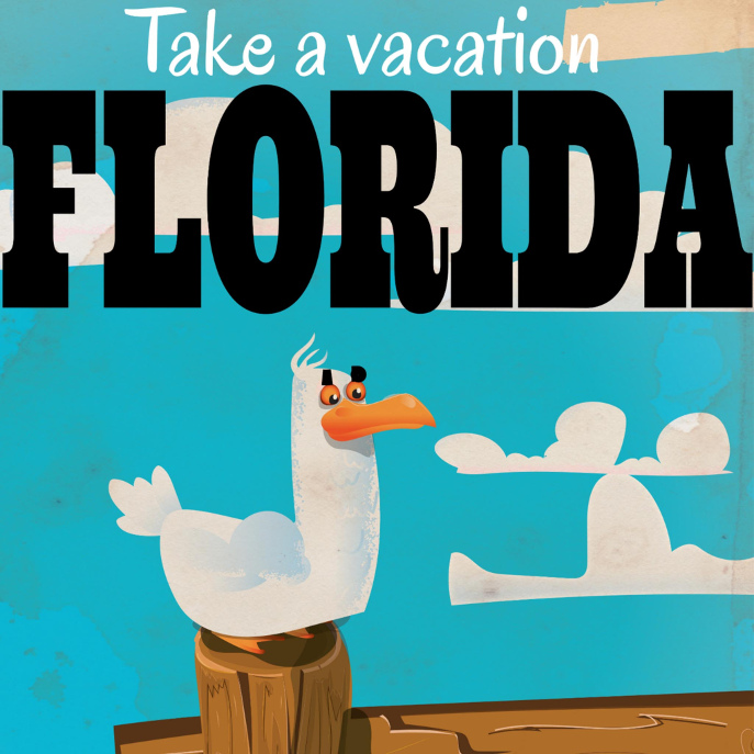 Take a vacation - Florida vintage travel poster. Poster