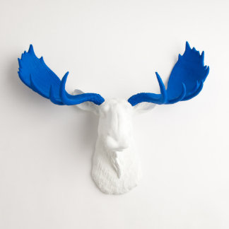 White Faux Moose Head with Blue Antlers