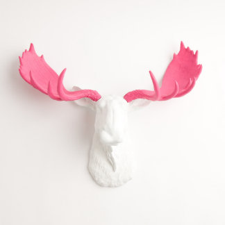 White Faux Moose Head with Pink Antlers