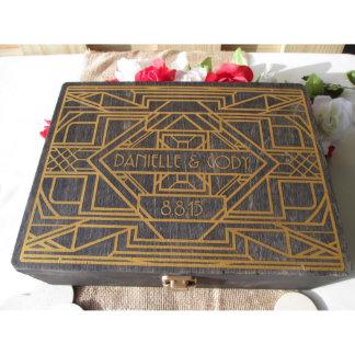 Alt. Wedding Guestbook-Art Deco Box w/100 Hearts