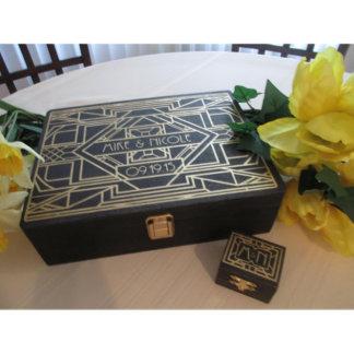 Art Deco Wedding Guestbook & Small Ring Box