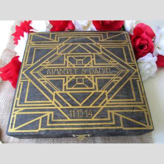 Alt. Wedding Guestbook-Art Deco Box w/50 Hearts
