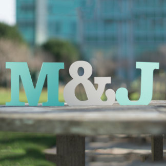 M & J Hand Painted Wood Letter
