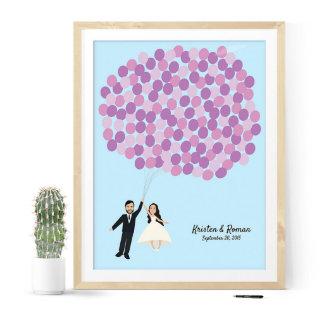 Custom Wedding Guestbook Fly Away Blue Print