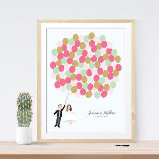 Wedding Guestbook Alternative Pink Balloon Print