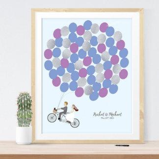 Custom Wedding Guestbook Flying Bicycle Print