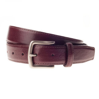 Burnished Silver Buckle with Burgundy Leather Belt