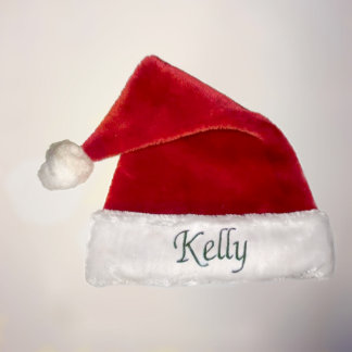 Red and White Personalized Plush Santa Hat