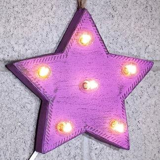 "Custom 9"" Purple Star Marquee Sign w/ Clear Bulbs"