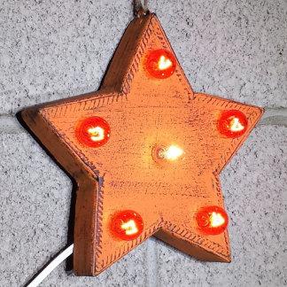 """Custom 9"""" Orange Star Marquee Sign w/ Orange Bulbs"""