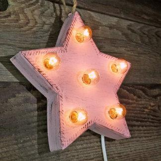 "Custom 9"" Pink Star Marquee Sign W/ Orange Bulbs"