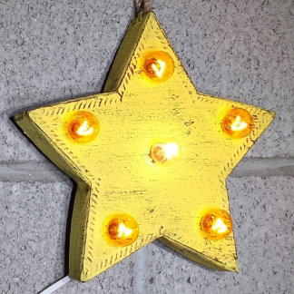 """Custom 9"""" Rustic Yellow Star Marquee Sign"""