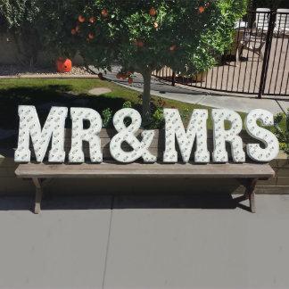 "Custom 21"" Red ""MR & MRS"" Vintage Marquee Sign"