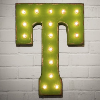 """Custom 21"""" Green Letter """"T"""" Vintage Marquee Signs"""