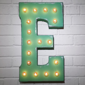 """Custom 21"""" Mint Green Letter """"E"""" Vintage Marquee S"""