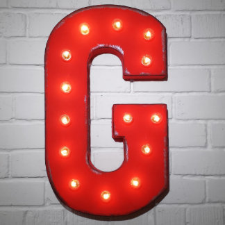 "Custom 21"" Red Letter ""G"" Vintage Marquee Signs"