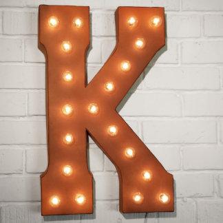 "Custom 21"" Rust Letter ""K"" Vintage Marquee Signs"