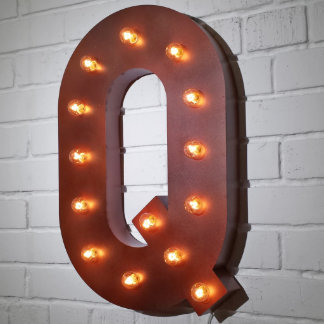 """Custom 21"""" Rust Letter """"Q"""" Vintage Marquee Signs"""