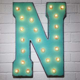 "Custom 21"" Turquoise Letter ""N"" Vintage Marquee Si"
