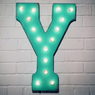 """Custom 21"""" Turquoise Letter """"Y"""" Vintage Marquee Si"""