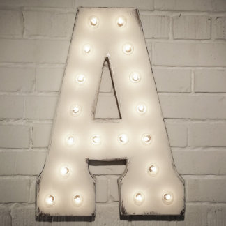 """Custom 21"""" White Letter """"A"""" Vintage Marquee Sign"""