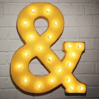 """Custom 21"""" Yellow Ampersand Vintage Marquee Sign"""