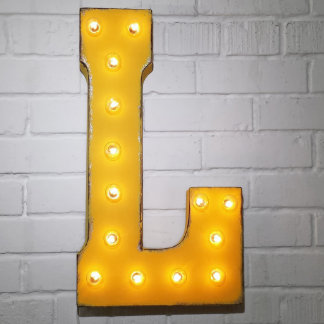 """Custom 21"""" Yellow Letter """"L"""" Vintage Marquee Signs"""