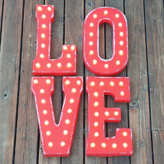 """Custom 21"""" Red """"LOVE"""" Vintage Marquee Sign"""