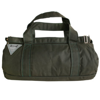 Hunter Green Canvas Duffel Bag with Ruby Interior