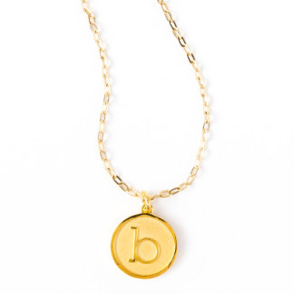 Gold Plated Initial Pendant on Cable Chain
