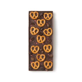 Pretzel, Pop Rocks, Pepper, and Coffee Bean Chocomize Dark Chocolate Bar