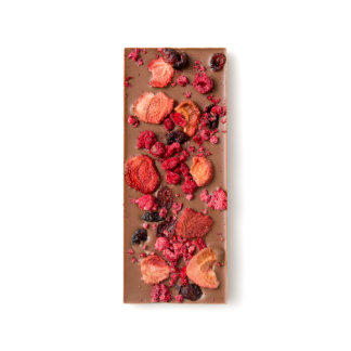 Dried Strawberry, Cranberry and Raspberry Chocomize Milk Chocolate Bar