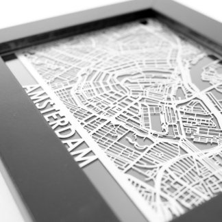 "5"" X 7"" Stainless Steel Cut Amsterdam City Map"