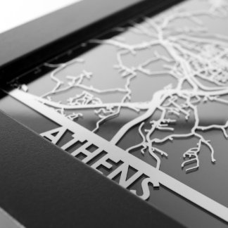 "5"" X 7"" Stainless Steel Cut Athens City Map"