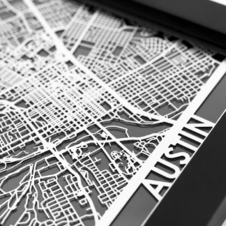 "5"" X 7"" Stainless Steel Cut Austin City Map"