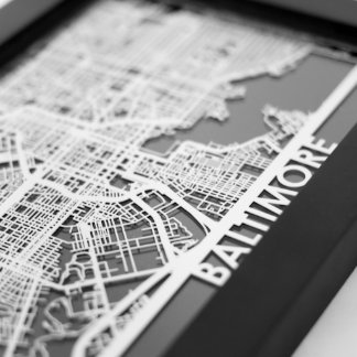 "5"" X 7"" Stainless Steel Cut Baltimore City Map"