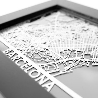 "5"" X 7"" Stainless Steel Cut Barcelona City Map"