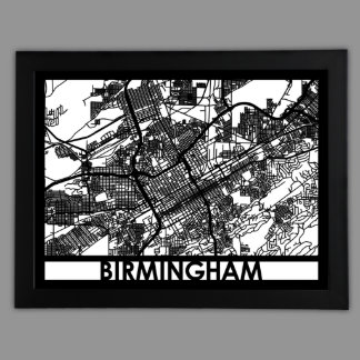 "24"" X 18"" Cut Out Birmingham City Map Framed"