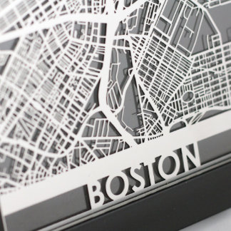 "5"" X 7"" Stainless Steel Cut Boston City Map"