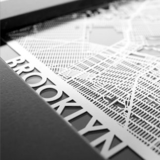 "5"" X 7"" Stainless Steel Cut Brooklyn New York  Map"
