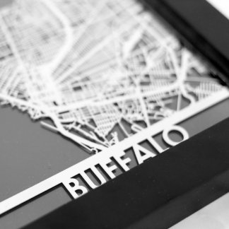 "5"" X 7"" Stainless Steel Cut Buffalo City Map"
