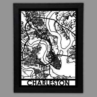 """24"""" X 18"""" cortó el mapa de la ciudad de Charleston"""