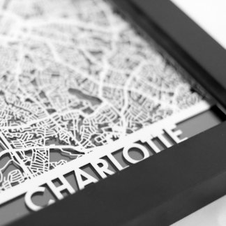 "5"" X 7"" Stainless Steel Cut Charlotte City Map"
