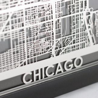 "5"" X 7"" Stainless Steel Cut Chicago City Map"