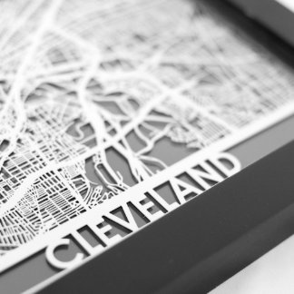 "5"" X 7"" Stainless Steel Cut Cleveland City Map"